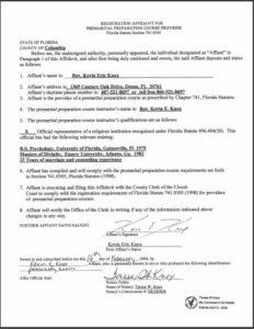 Columbia County FL premarital course credentials