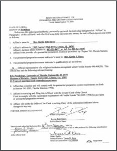 Hamilton County FL premarital course credentials