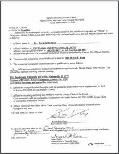 Hamilton County FL premarital course credentials
