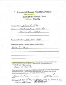 Hendry County FL premarital course credentials