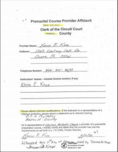 Hernando County FL premarital course credentials