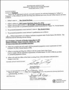 Highlands County FL premarital course credentials