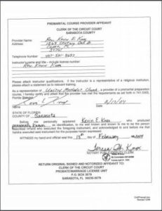 Sarasota County FL premarital course credentials